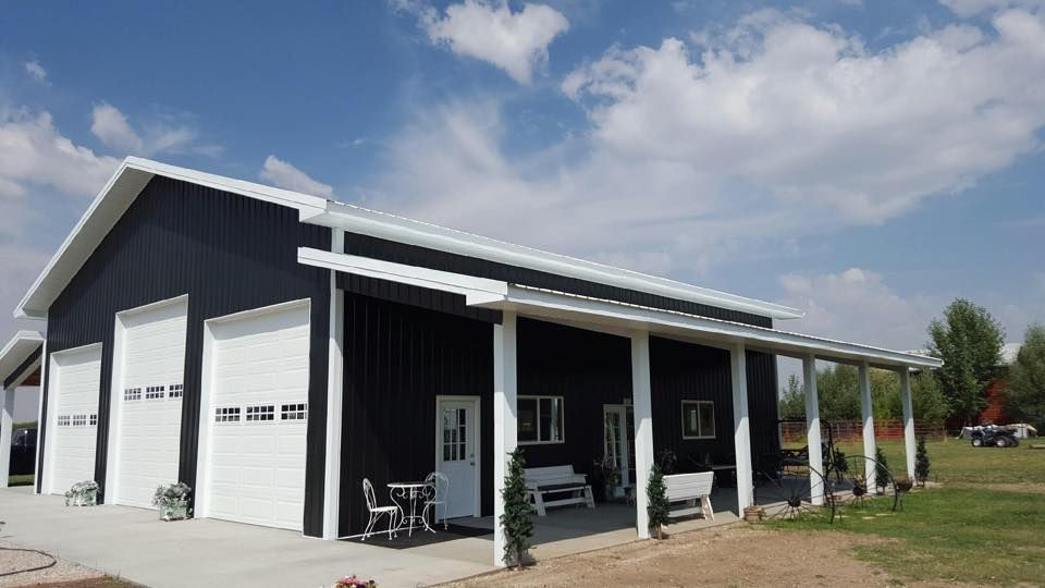 Pole Barn Style Shop Garage With Over Hang Blake White Metal Roofing And Siding Metal Shop Building Backyard Buildings Pole Building Garage