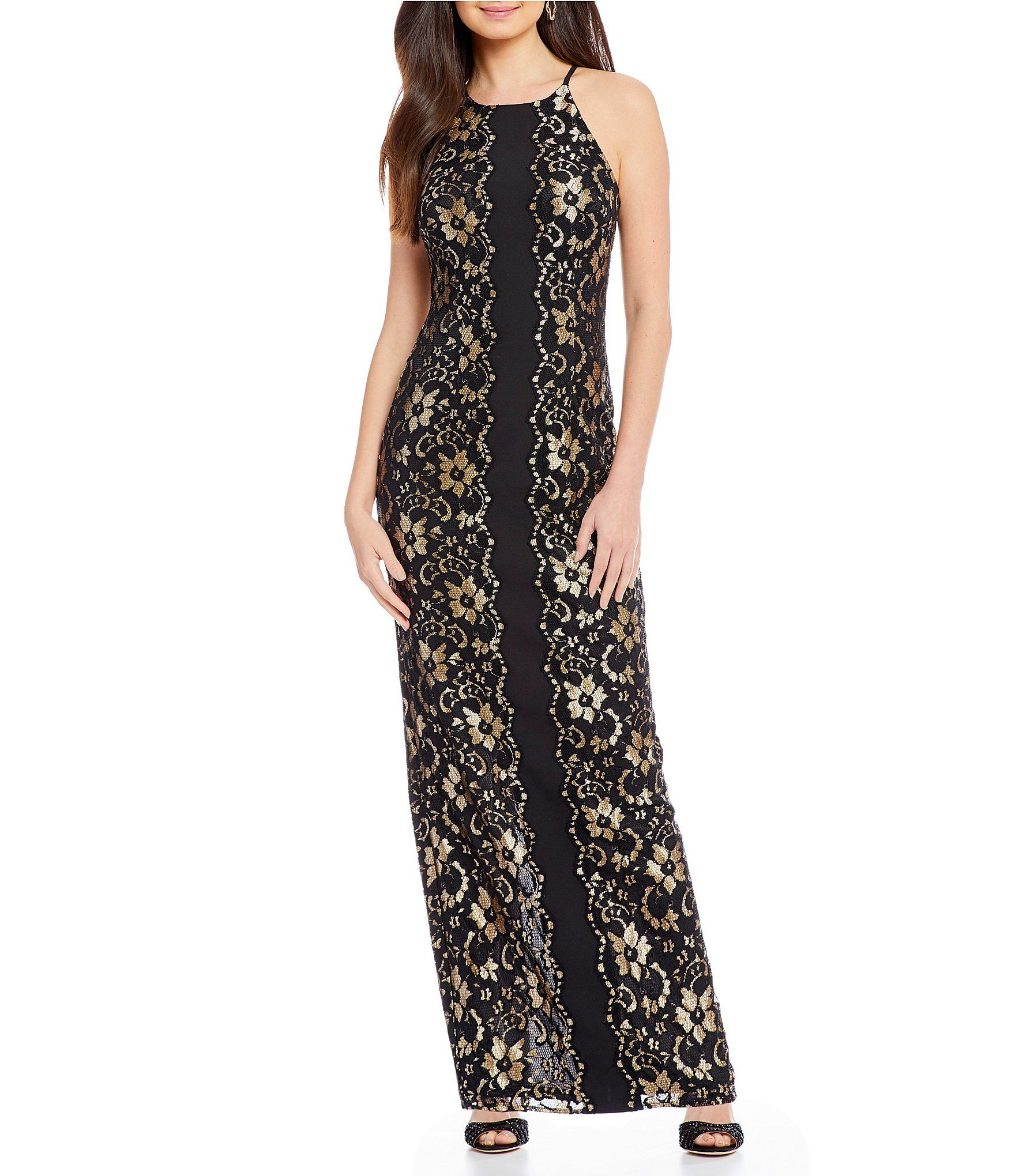 Belle Badgley Mischka Wenda Lace Floral Gown | Badgley mischka ...