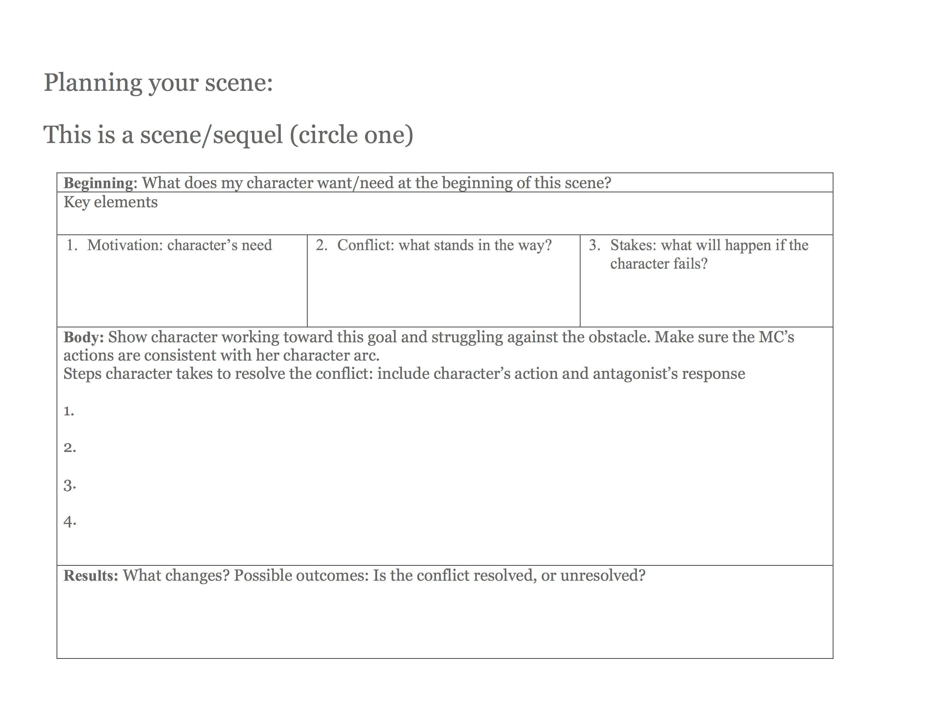 Scene Planning Worksheet