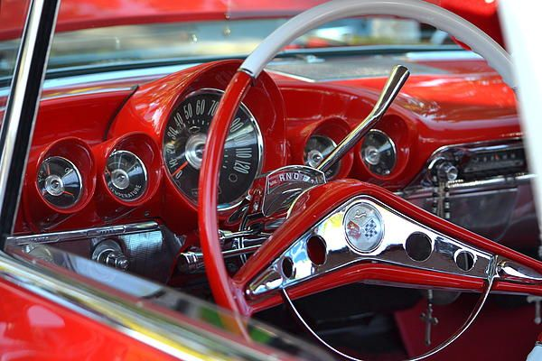 Red Dashboard Of A 1960 Chevrolet Impala     Wished There