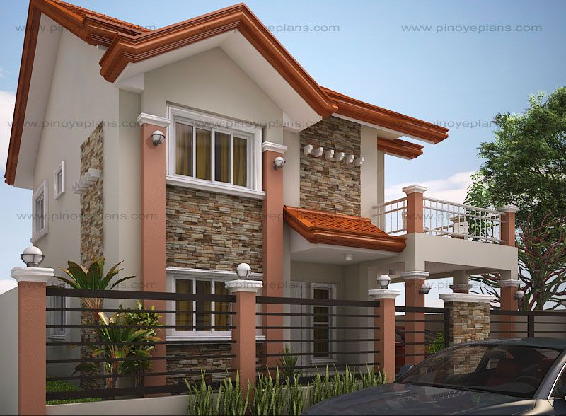 The Floor Plan Features Of This Modern House Design Are Covered Front Porch  Balcony Over Garage