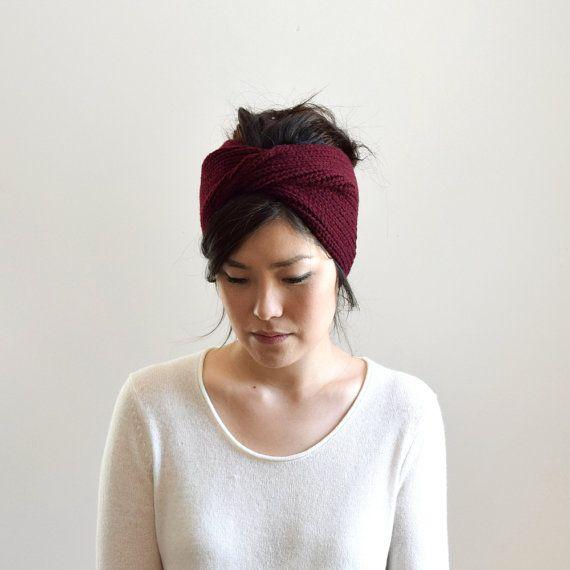 Burgundy Knit Headband, Knit Turban, Women\'s Knit Headband, Wool ...