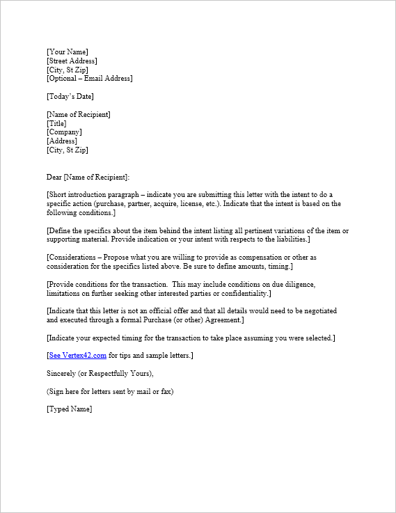 Letter Of Intent To Purchase Business Template Download The Intent Letter Template From Vertex42  Download .