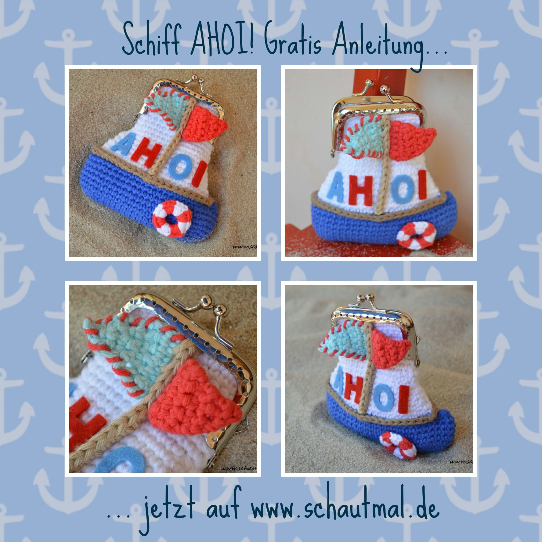 Bootbörse. Gratis Häkelanleitung von www.schautmal.de. Free crochet ...