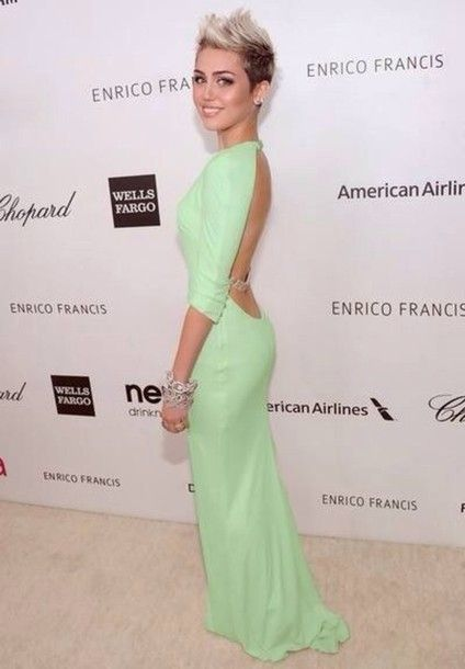 Dress Mint Green Celebrity Miley Cyrus Dresses Maxi Dresses