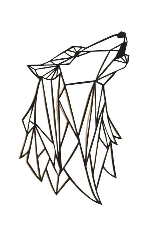 Original Wolf Papercut Art 7x5 Geometric Paper Original Howling