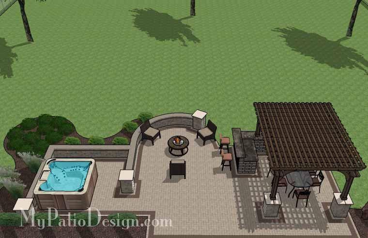 creative brick patio design with pergola and hot tub ... - My Patio Design