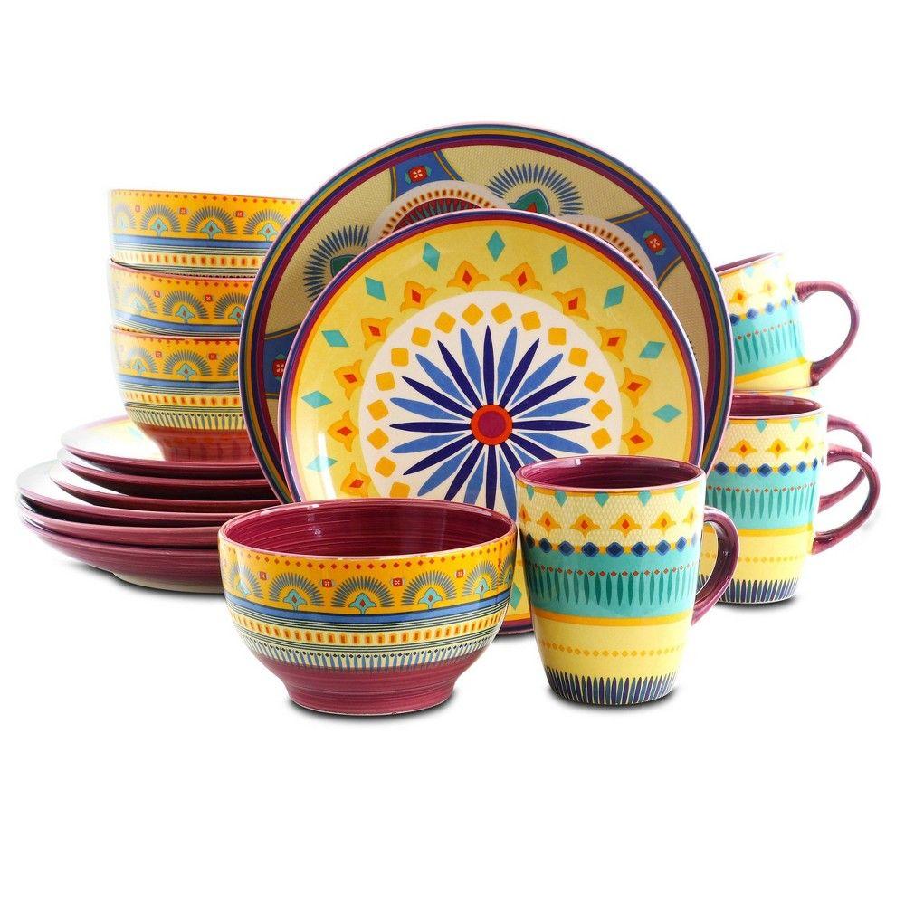 16pc Stoneware Summer Terrace Dinnerware Set Elama Stoneware Dinnerware Sets Dinnerware Set Stoneware Dinnerware