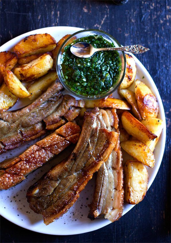 Crispy Pork Belly Ribs with Green Sauce and Honey Roasted Potatoes