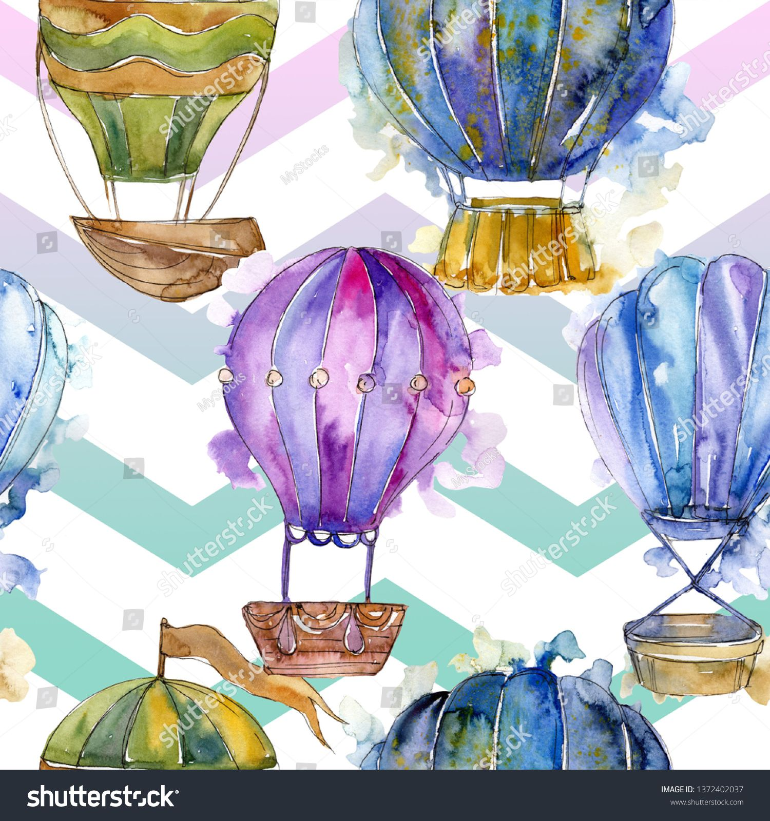 Hot air balloon background fly air transport illustration. Watercolor background set. Watercolour drawing fashion aquarelle isolated. Seamless background pattern. Fabric wallpaper print texture. #Sponsored , #Affiliate, #illustration#transport#Watercolor#Watercolour