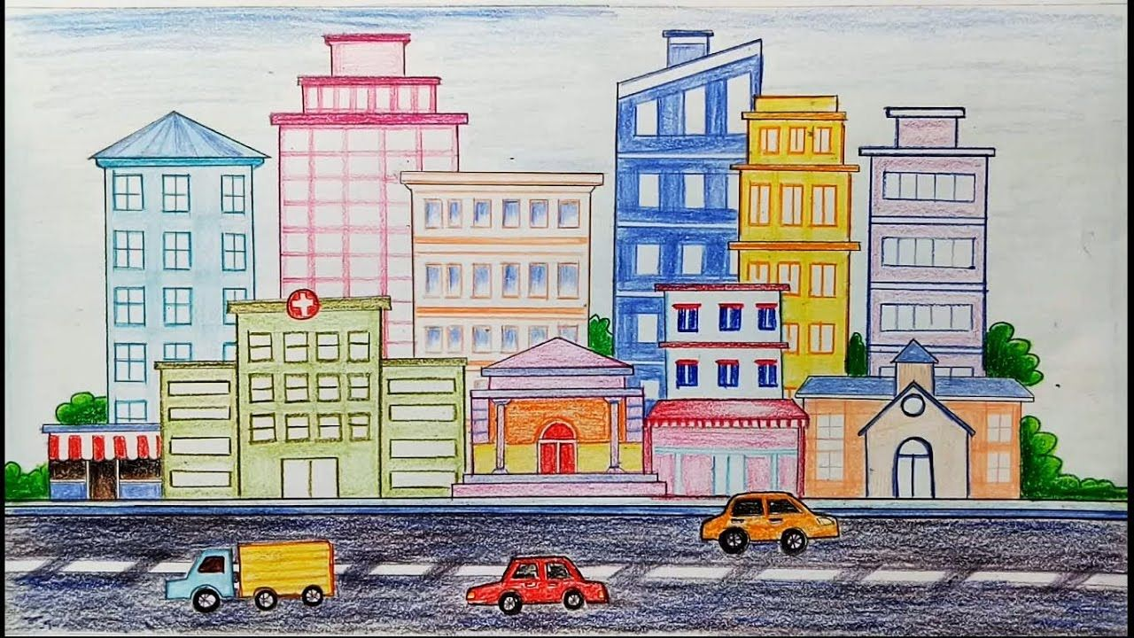 How To Draw City Scene Step By Step Drawing For Kids City Drawing Cityscape Drawing