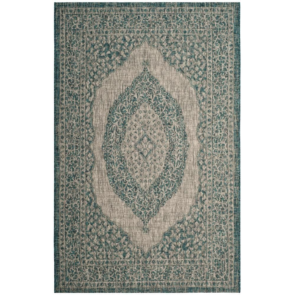Safavieh Courtyard Light Gray Teal Light Gray Blue 7 Foot X 10 Foot Rug For Indoor And Outdoor Use In 2020 Blue Grey Rug Indoor Outdoor Rugs Outdoor Rugs