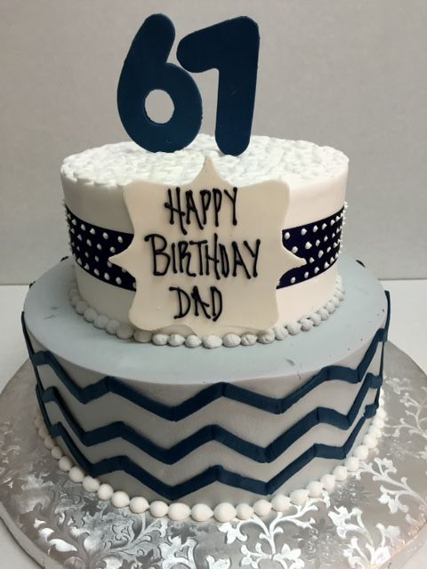 Two Tier Round Birthday Cake For Dad Navy Blue White And Gray With Chevron Pattern Using Buttercream Fondant Accents