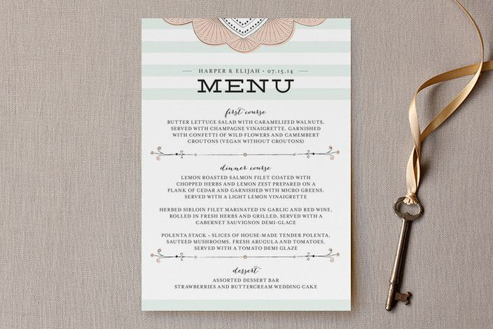 Striped Sweet Nothings by Frooted Design at minted.com - so many beautiful menu card options on this site