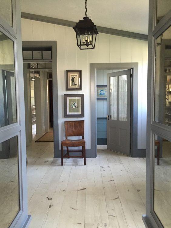 White walls, blue/gray trim and doors  Café Design   Transom Style