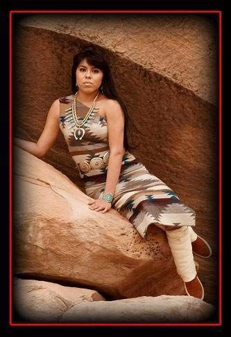 Navajo Native Beauty -with deerskin boot moccasin wraps