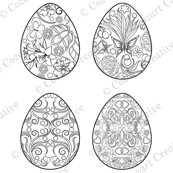 Four Pretty Easter Eggs To Color Coloring Page Designs With Flowers Rhpinterest: Butterfly Eggs Coloring Pages At Baymontmadison.com