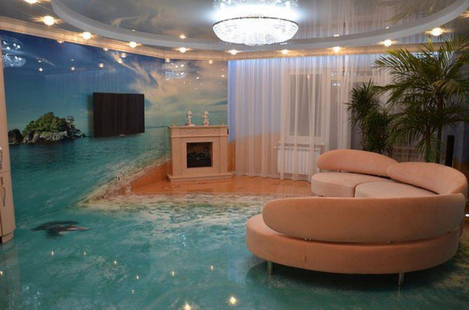 oceanic 3D flooring murals 3D epoxy floor painting art A