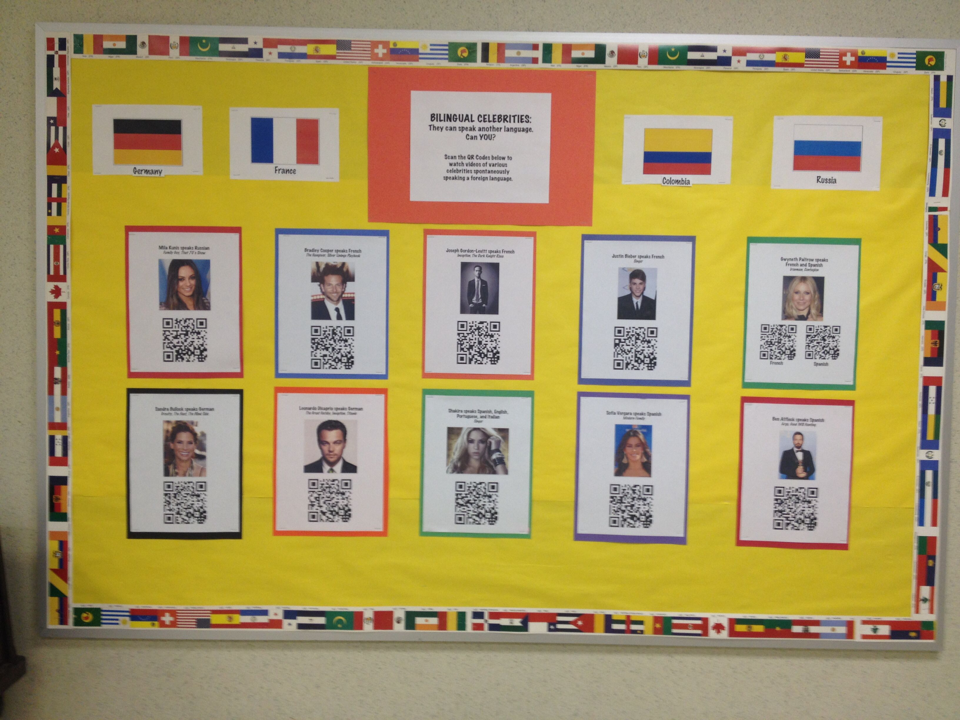 French/Spanish Bulletin Board Idea. Make QR Codes to celebrities ...