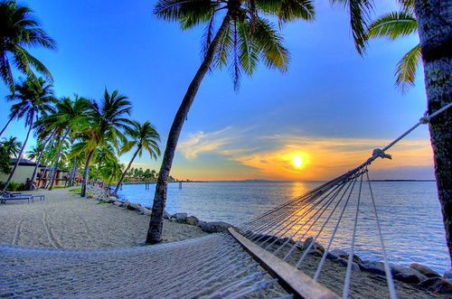 Hammock On Beach Wallpapers: Beach With Palm Trees And Hammock
