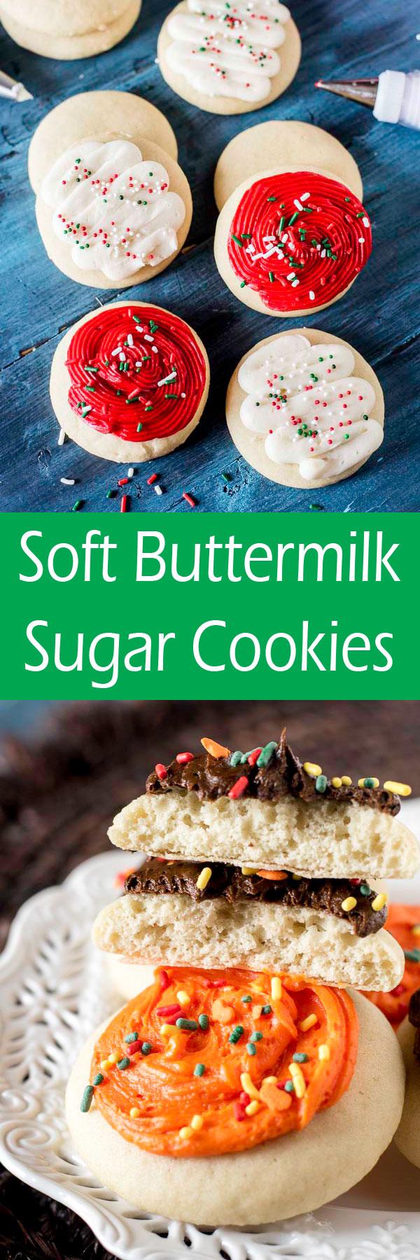 Soft Buttermilk Sugar Cookies Buttermilk Recipes Homemade Cookies Sugar Cookies
