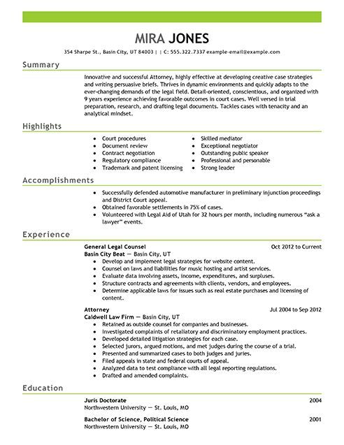 Resume Builder Sample Examples Templates Lawyer Attorney  Boss