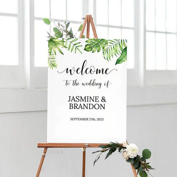 Items similar to Printable Wedding Welcome Sign Template, Personalized Tropical Welcome Sign,Custom Wedding Sign,Editable Template PDF Instant Download #E036 on Etsy