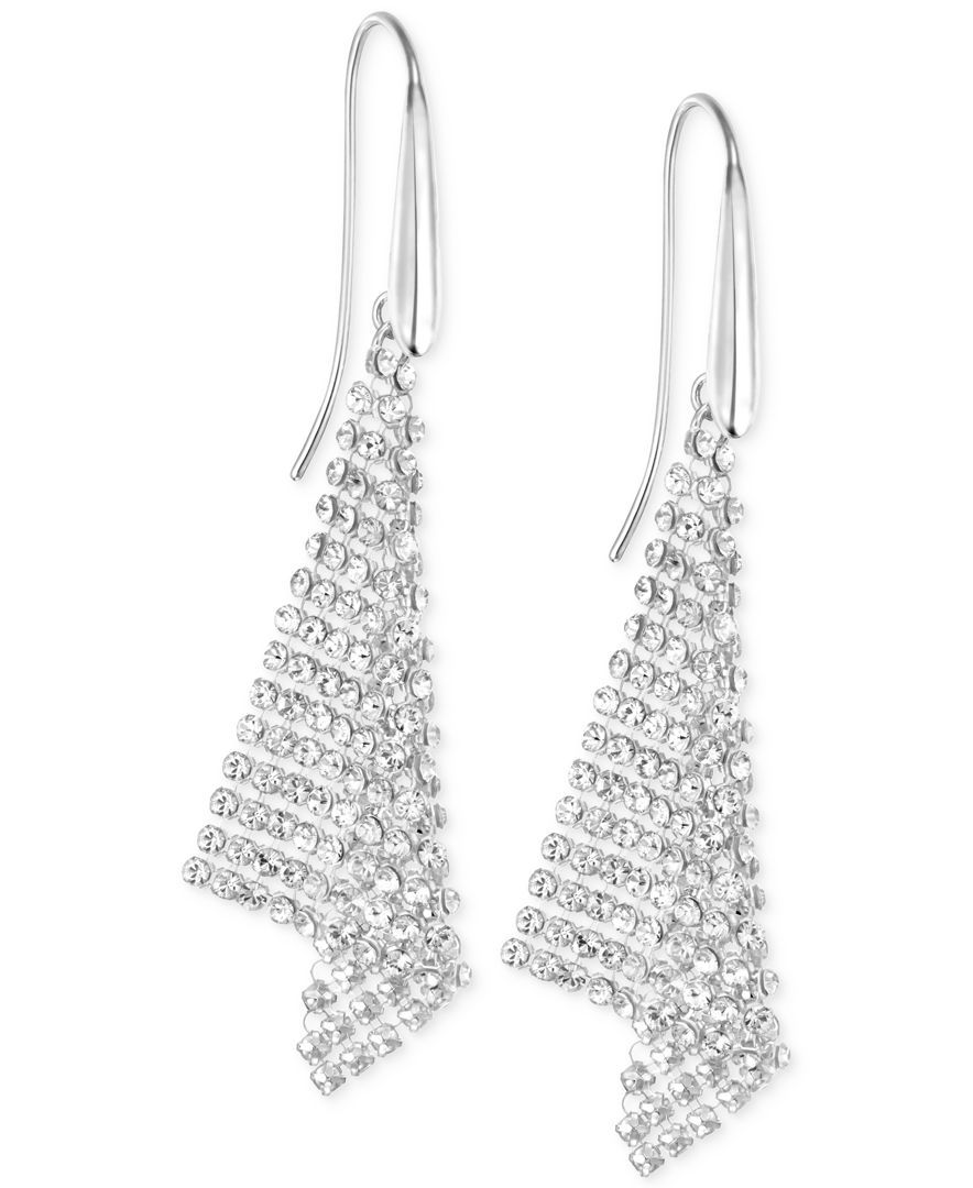 529bd7cf0 Swarovski Silver-Tone Crystal Mesh Drop Earrings | wedding | Drop ...