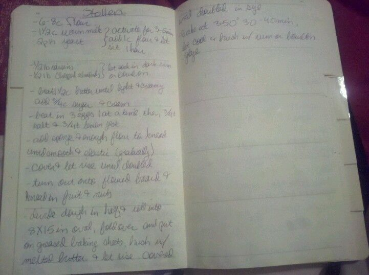 grandma's stollen recipe, copied into my recipe journal. actual baked product found on the bottom of this board