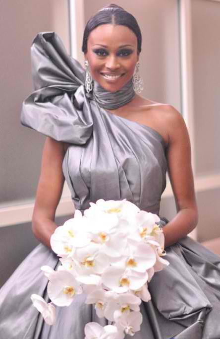 Cynthia Bailey in Rubin Singer Gunmetal Silver wedding