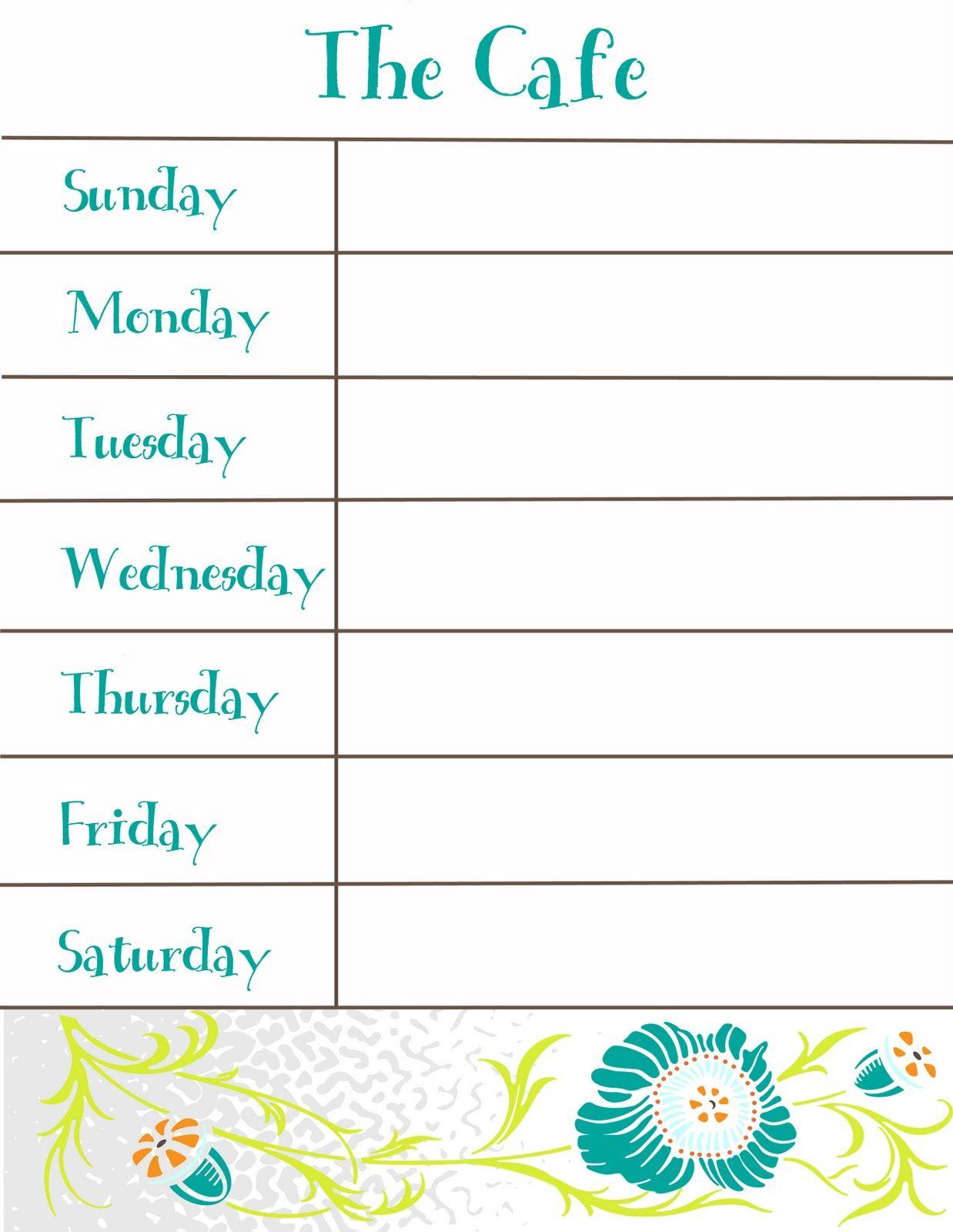 Weekly Menu Printable With Images