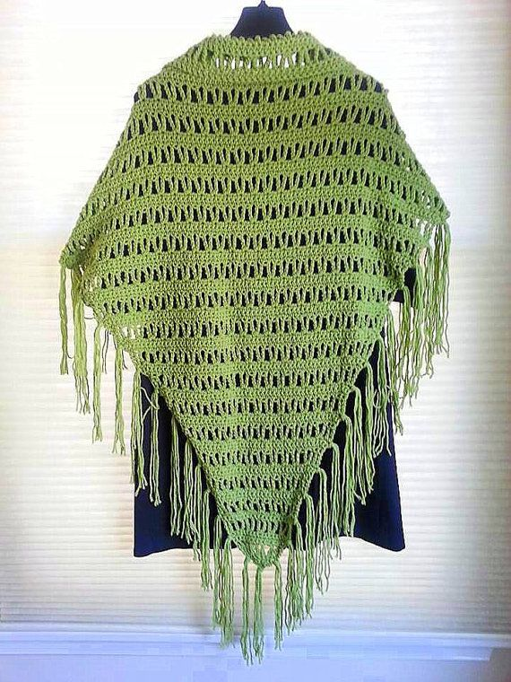 Handmade Crochet Sage Green Fringed Triangle Shawl - Women's Size S/M by annakellycreations. Explore more products on http://annakellycreations.etsy.com