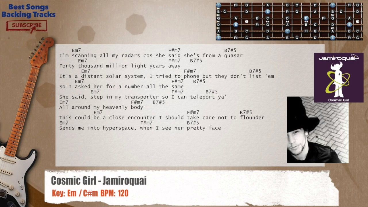 Cosmic Girl Jamiroquai Guitar Backing Track With Chords And Lyrics