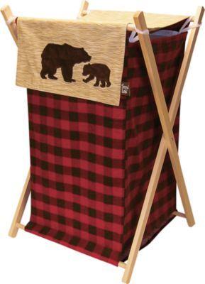 Northwoods Hamper Set Bear Decor Plaid Nursery Laundry