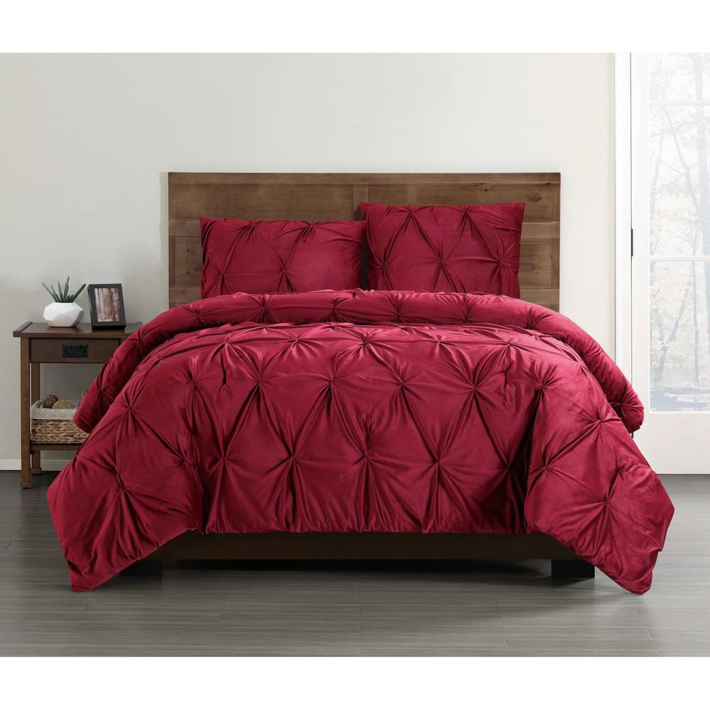 Truly Soft Everyday Pleated Velvet Red Twin Twin Xl Comforter Set Products Queen Comforter Sets Comforter Sets Duvet Sets