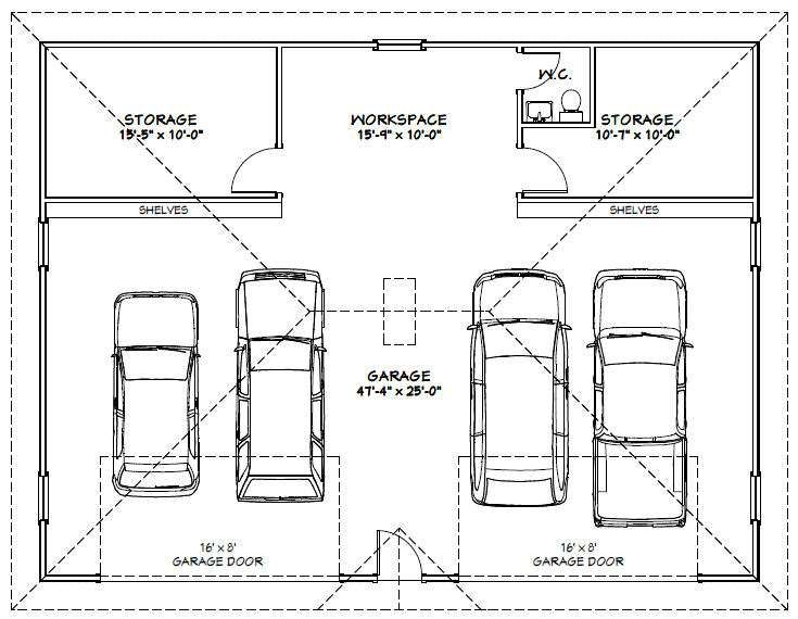 Auto Repair Garage Floor Plans: 48x36 4 Car Garage #48X36G1 1729 Sq Ft Excellent Floor