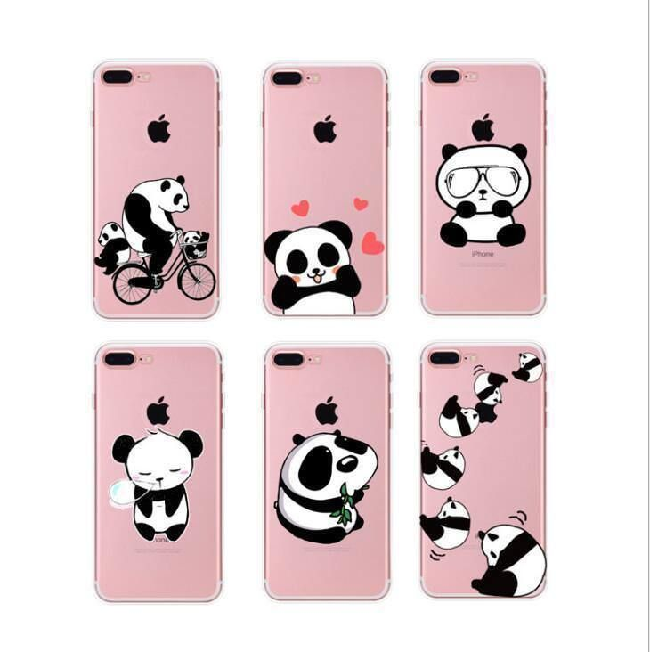 For IPhone 6 6S 7 Plus 5 5S 8 Plus Kawaii Cute Panda Eat Bamboo