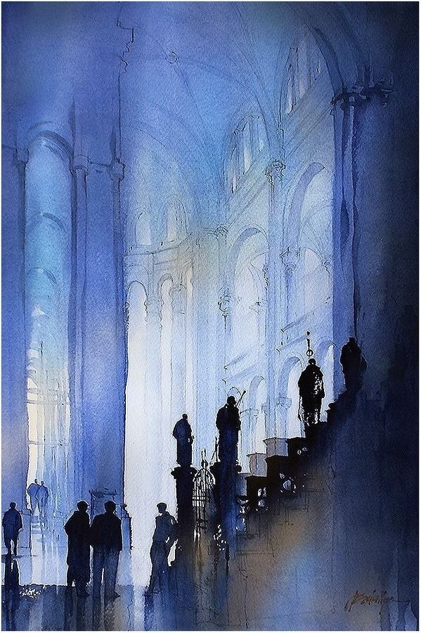 Interior in Blue by Thomas W Schaller Watercolor 22 inches x 14