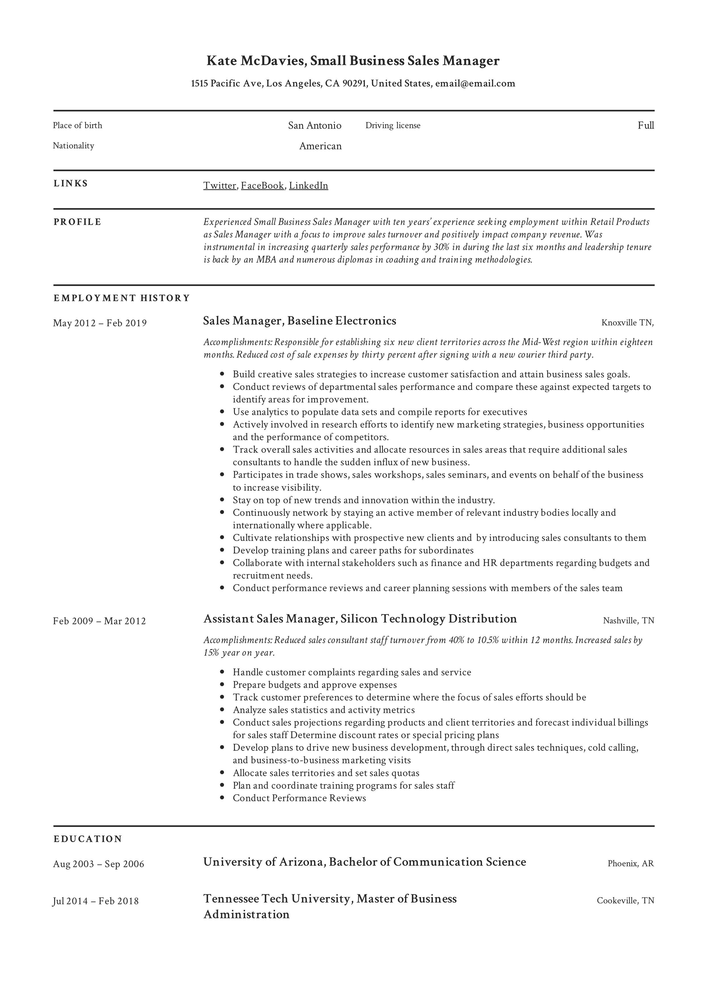 Small Business Sales Manager Resume Template in 2020