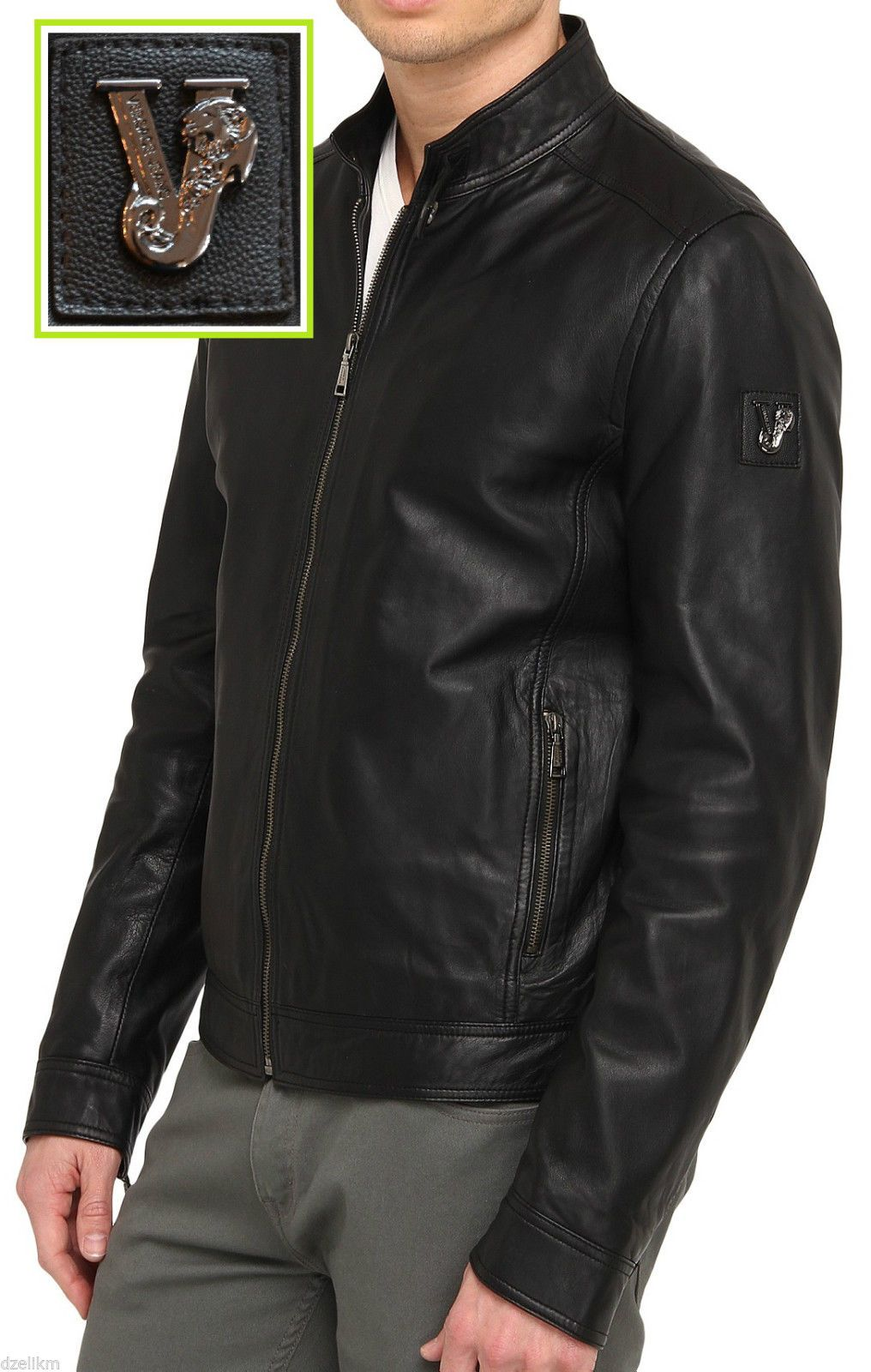 nwt versace jeans lamb leather moto jacket in black size m