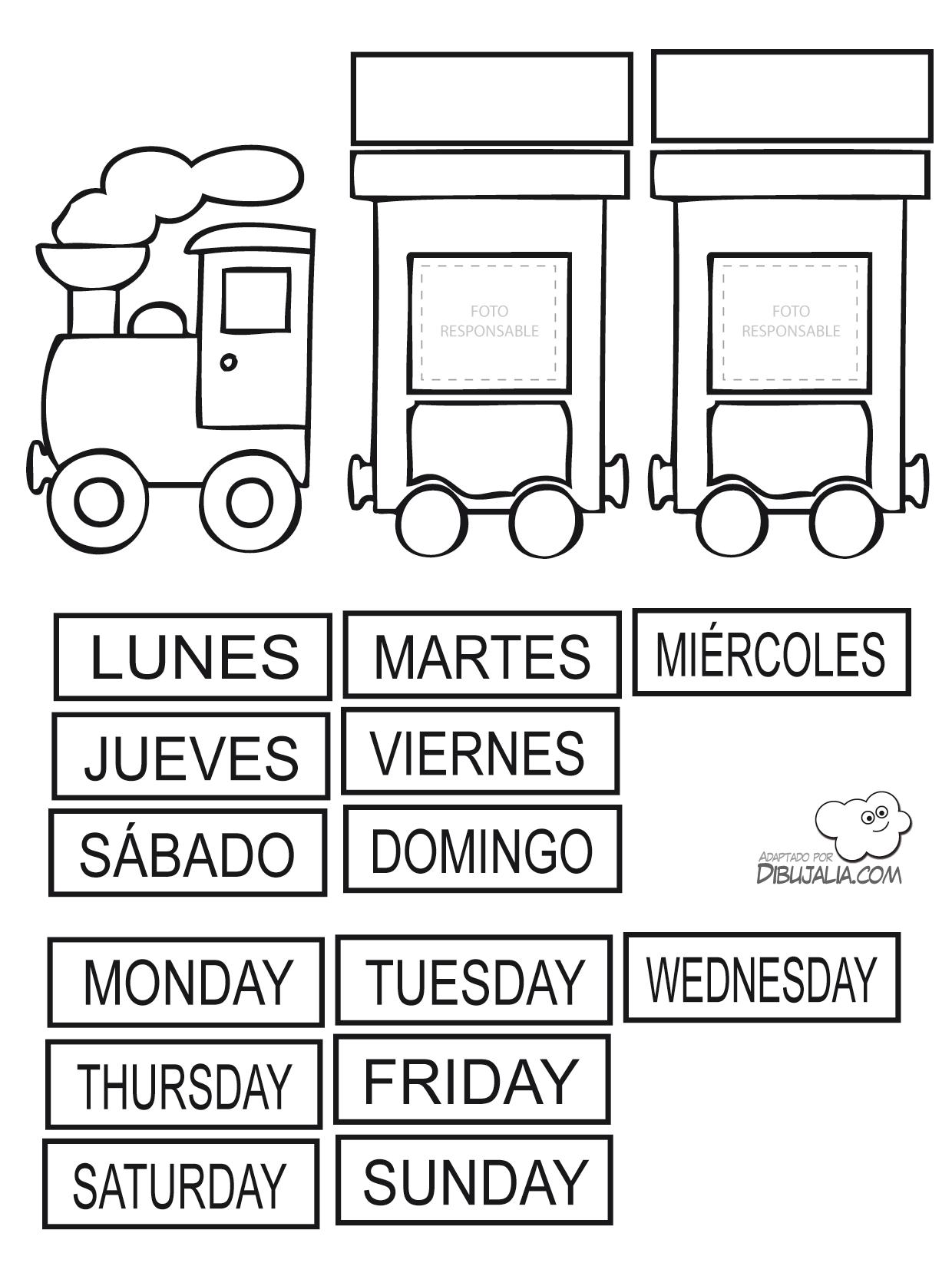 Tren Dias Semana Y Responsable Dibujalia Dibujos Para Colorear Profes Tren Dias Semana Y Re Dias De La Semana La Semana En Ingles Calendario Preescolar