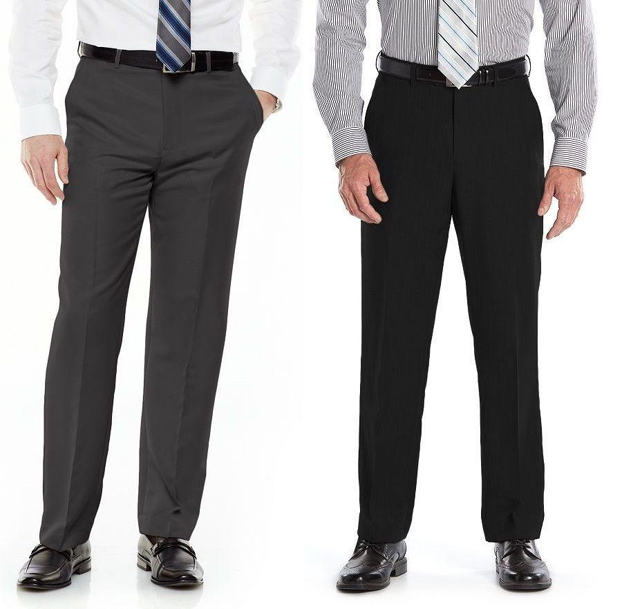 NEW CROFT /& BARROW BLACK PLEATED DRESS PANTS MENS 36X29 NO IRON FREE SHIP
