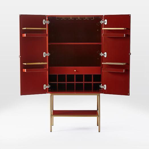 Downing Bar Cabinet - Paprika/Antique Brass | west elm ...