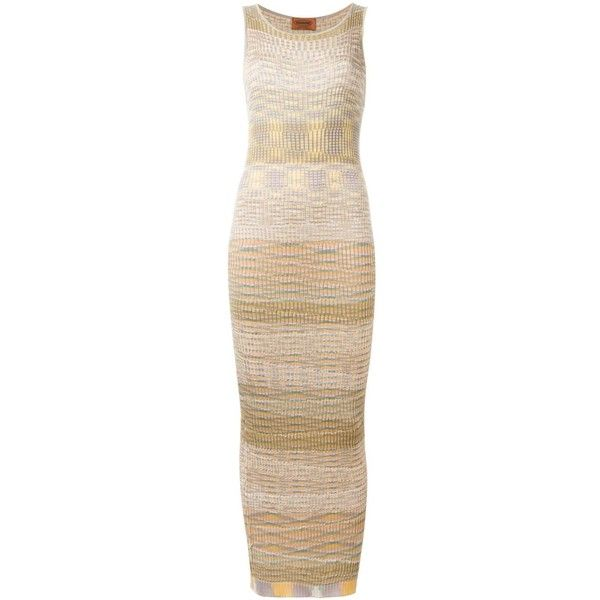 Missoni Vintage patterned sleeveless knit dress (€690) ❤ liked on Polyvore featuring dresses, multicolor, scoop-neck dresses, form fitting dresses, form fitting long dresses, vintage knit dress and colorful dresses