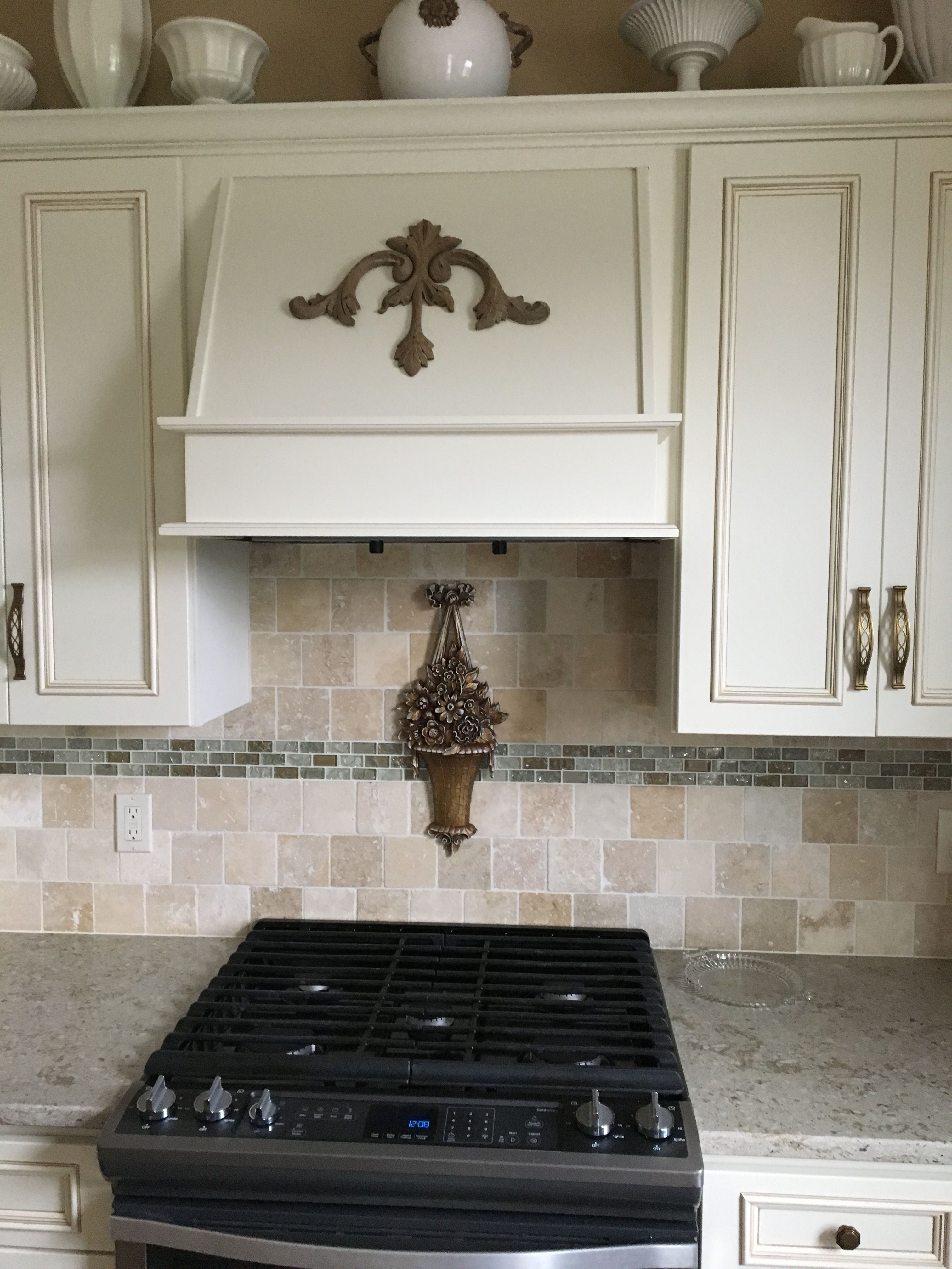 Applique Added To The Stove Hood And To The Tile Backsplash
