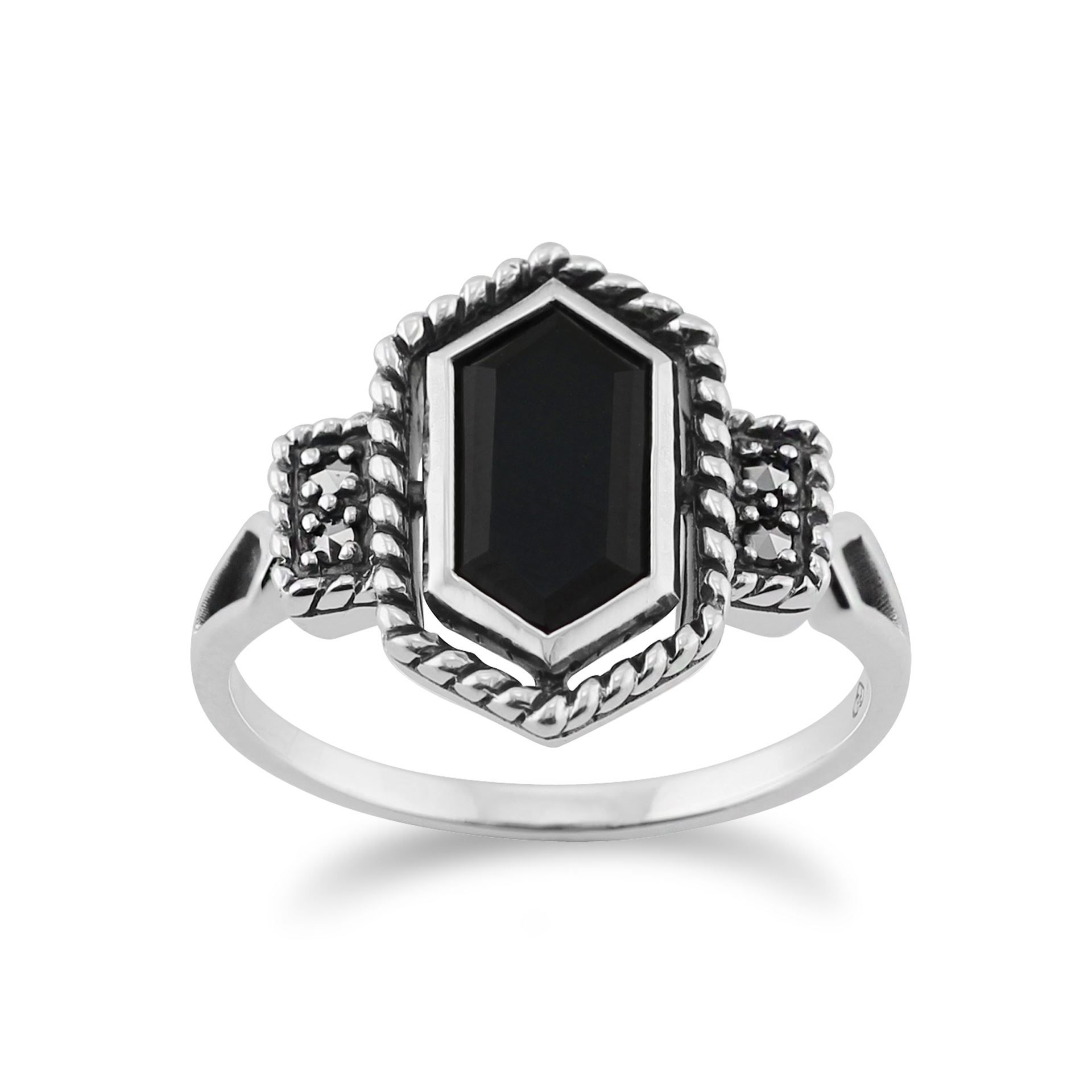 Gemondo 925 Sterling Silver Art Deco 1.20ct Black Onyx & Marcasite Ring