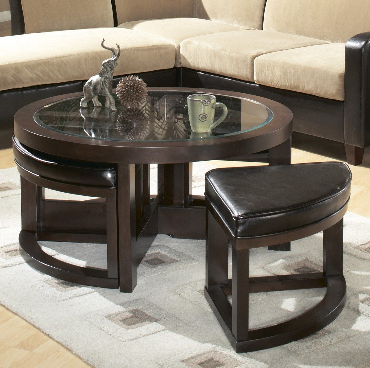 - Marion Coffee Table With Four Wedge-shaped Stools Seamlessly