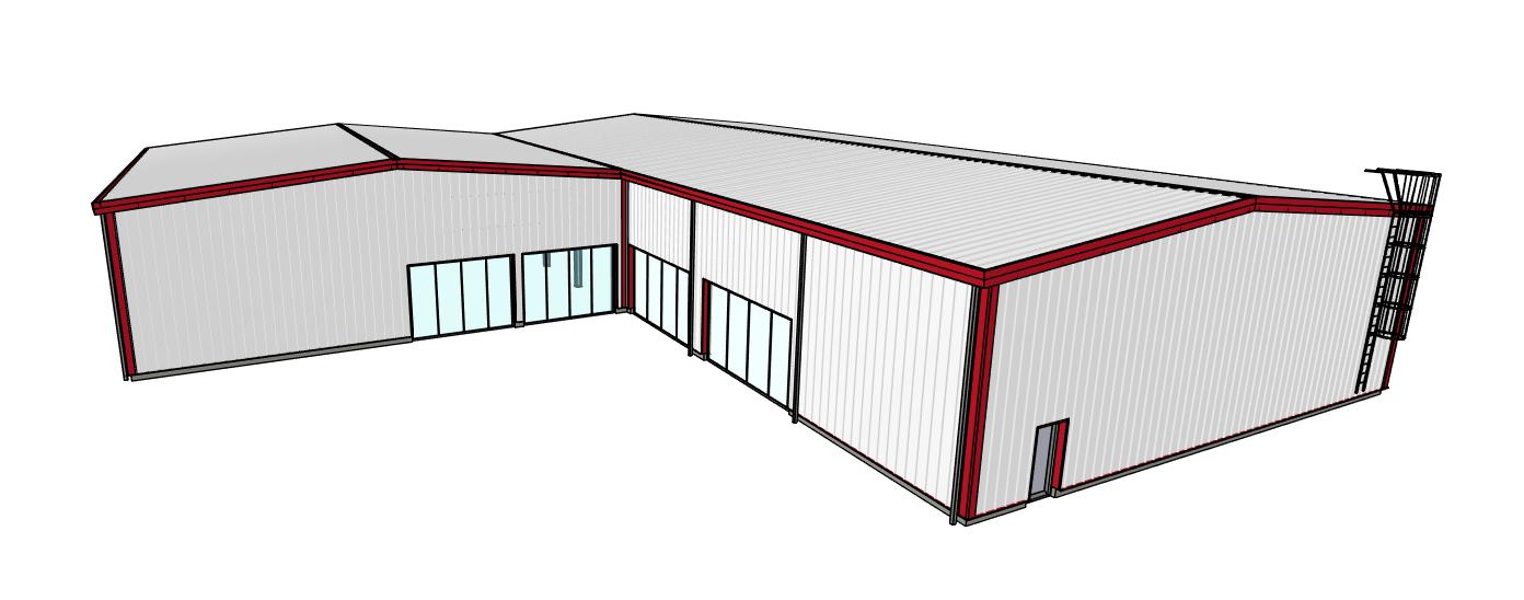 Lshaped building Metal buildings, Steel buildings
