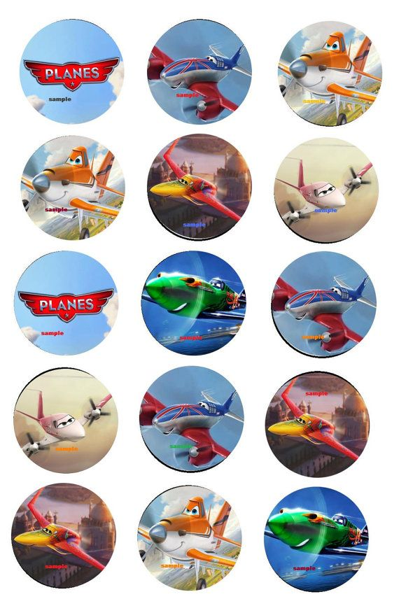 Disney Planes inspired INSTANT DOWNLOAD 1 Inch circle 4x6 digital bottle cap hairbow scrabbook crafts Birthday party 15 piece Collage on Etsy, $1.95