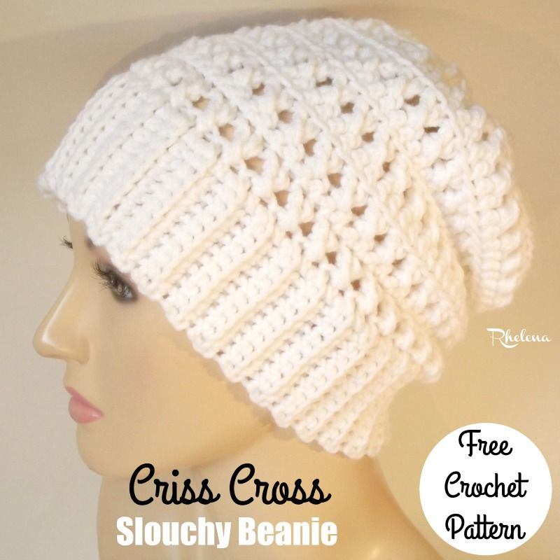 FREE crochet pattern for the Criss Cross Slouchy Beanie. The beanie ...